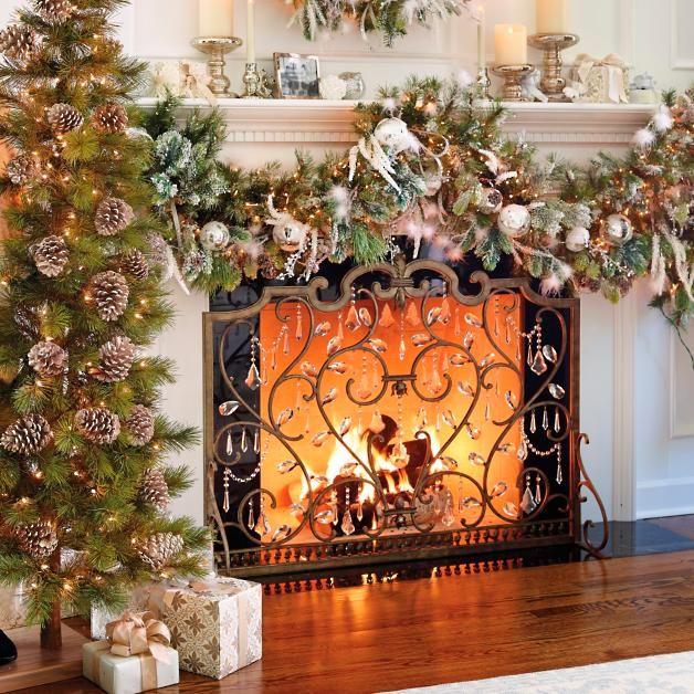 Christmas Fireplace Screen.Louviere Fireplace Screen Christmas Mantel Christmas