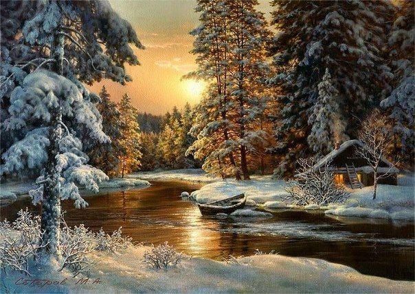 tableau peinture à l'huile paysage d'hiver