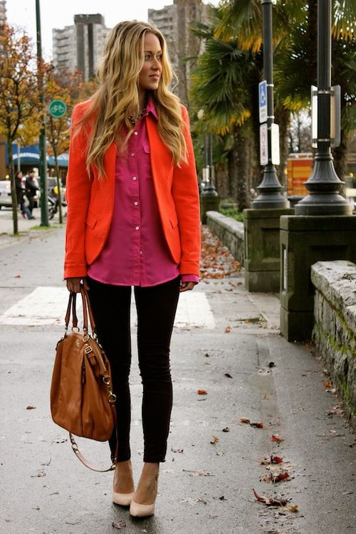 Pink Blouse With Orange Jacket And Cream High Heels.