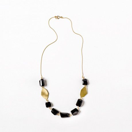 Onyx Necklace in Gold by The Forma - The 2014 collection features nuggets shapes in metal combined with natural gemstone crystals, contrasting textures and colors fused into a distinctive fresh look. All jewelry is hand made with lots of care and attention in Israel. $150 !!