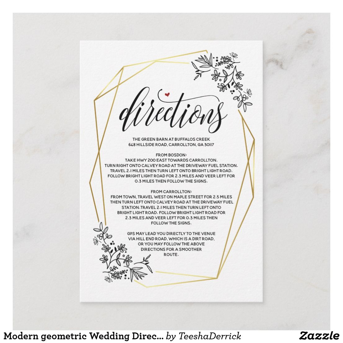 Modern Geometric Wedding Direction Enclosure Card Zazzle Com Wedding Enclosure Cards Wedding Directions Geometric Wedding