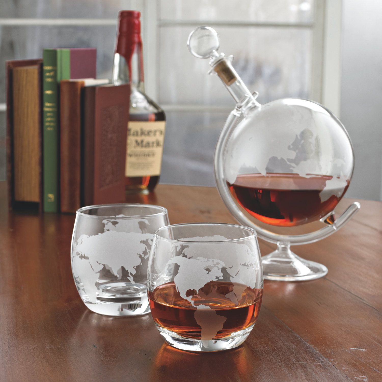 etched globe whiskey decanter  glass set  decanter globe and wine - etched globe whiskey decanter  glass set
