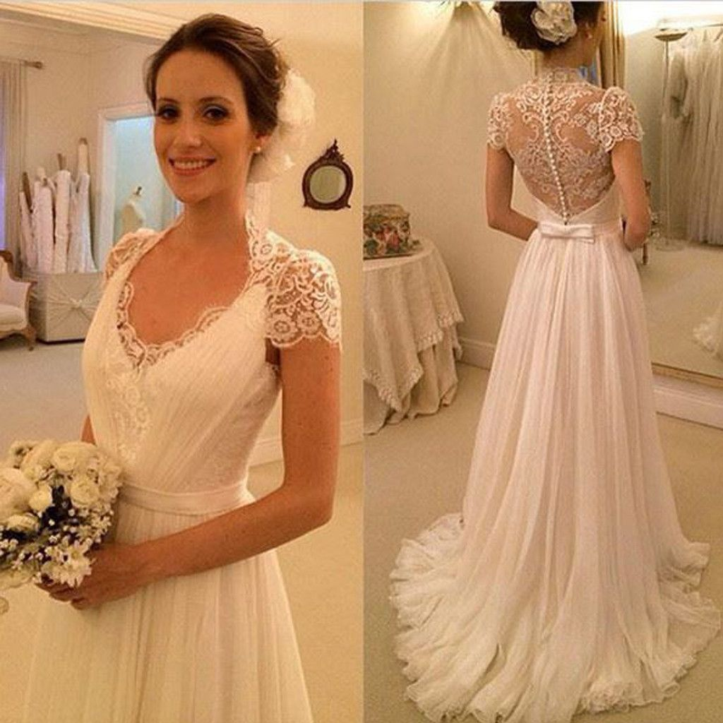 Elegant cap sleeve see through lace top sheath cheap wedding dresses