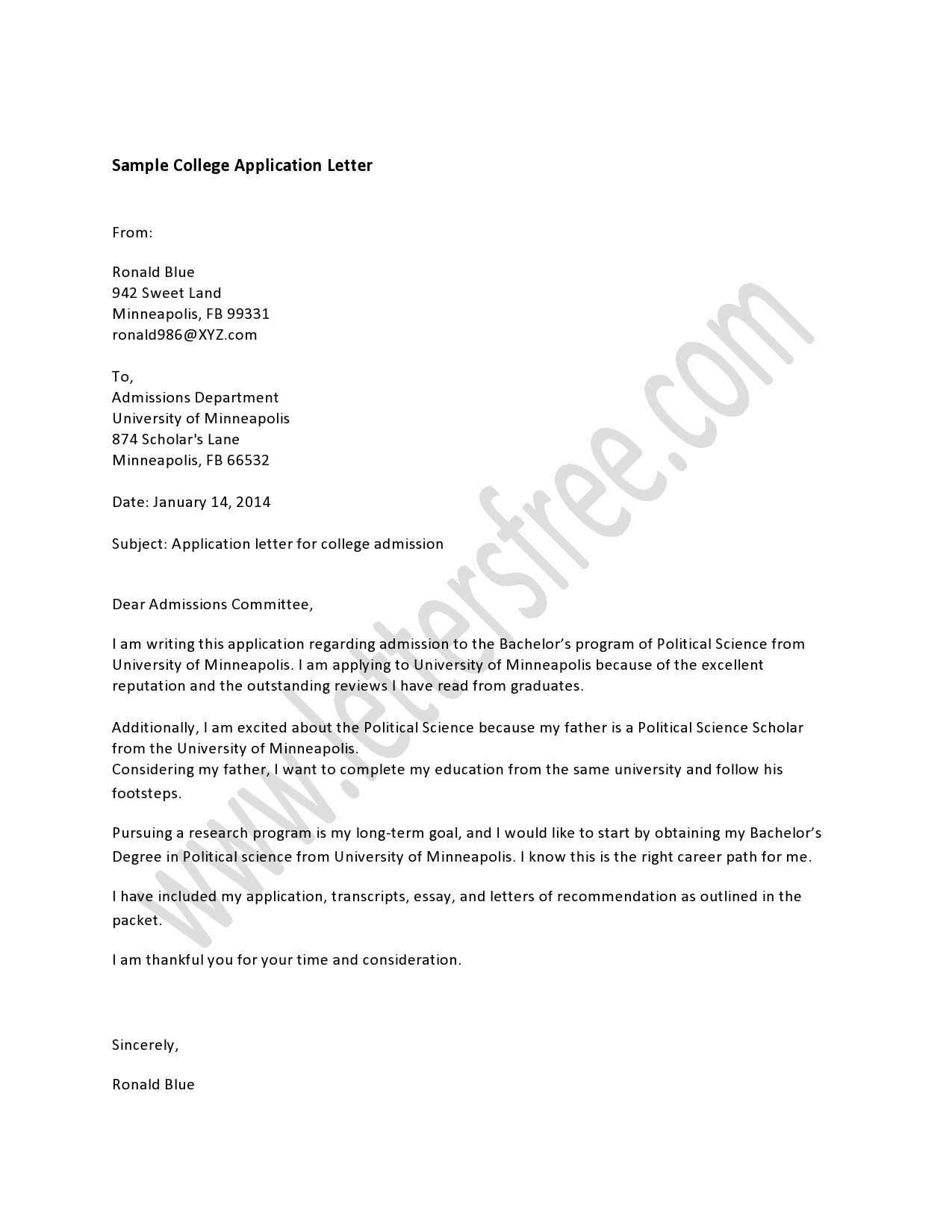 Writing college application letter is a media of setting your – College Application Letter