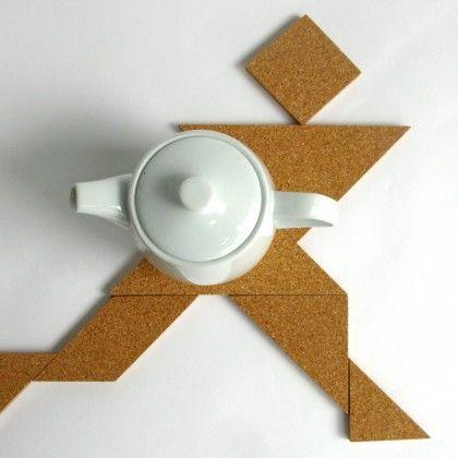 Tangram - Jeu / sous-plat en liège par TOMA objets
