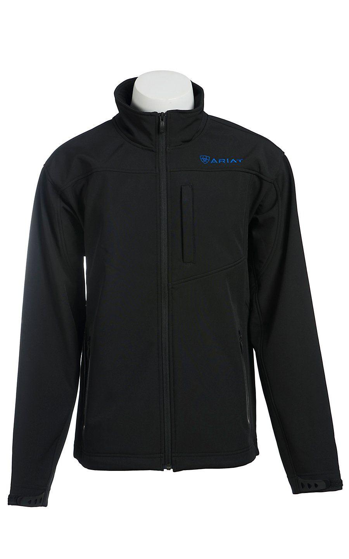 Ariat Men S Vernon Black With Blue Logos Bonded Softshell Jacket Leather Jacket Men Jackets Western Jacket [ 1440 x 900 Pixel ]