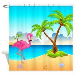 Pink Flamingo Shower Curtain Curtains Beach Store