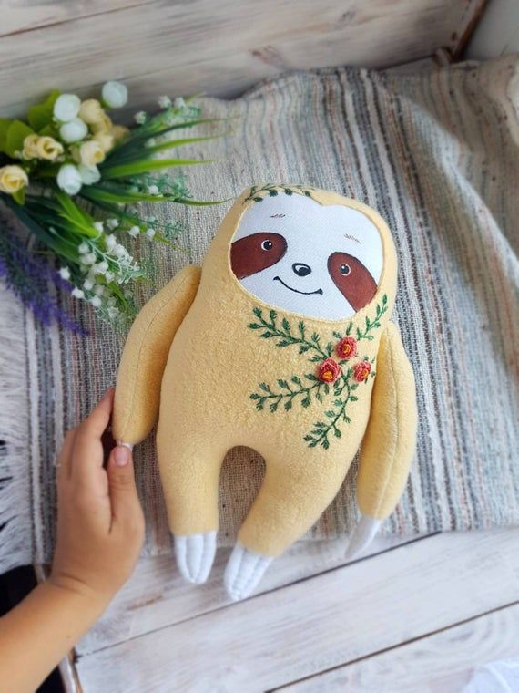 Sloth plushie stuffed animal, faux fur friendly sloth novelty toy, super soft fur sloth gift, animal lover plush gift, with embroidery
