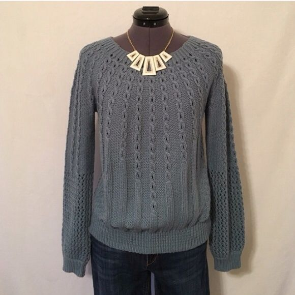 Anthro Purl-Wise Sweater by Guinevere Slate Blue. Size XS. Excellent used condition. Anthropologie Sweaters Crew & Scoop Necks