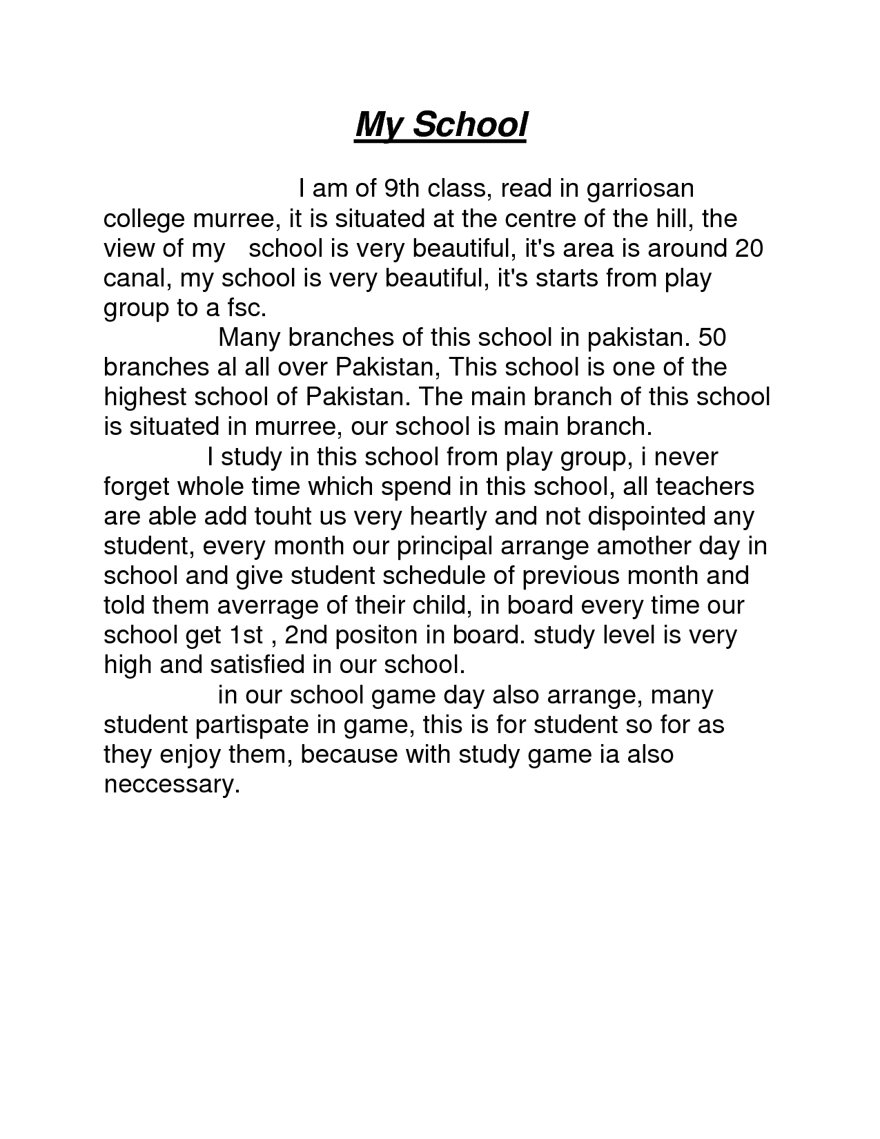 Essay On My High School