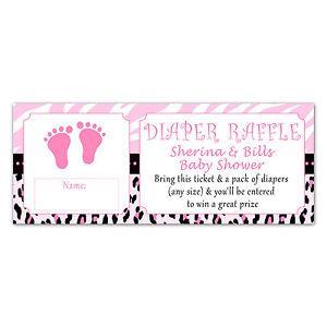 baby shower diaper favors | 50-Baby-Shower-Diaper-Raffle-Ticket-Pink-Feet-Zebra-Leopard-Jungle ...