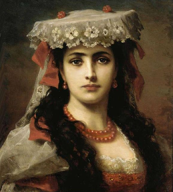 Portrait Of A Young Spanish Woman Anton Ebert Art Oil Painting