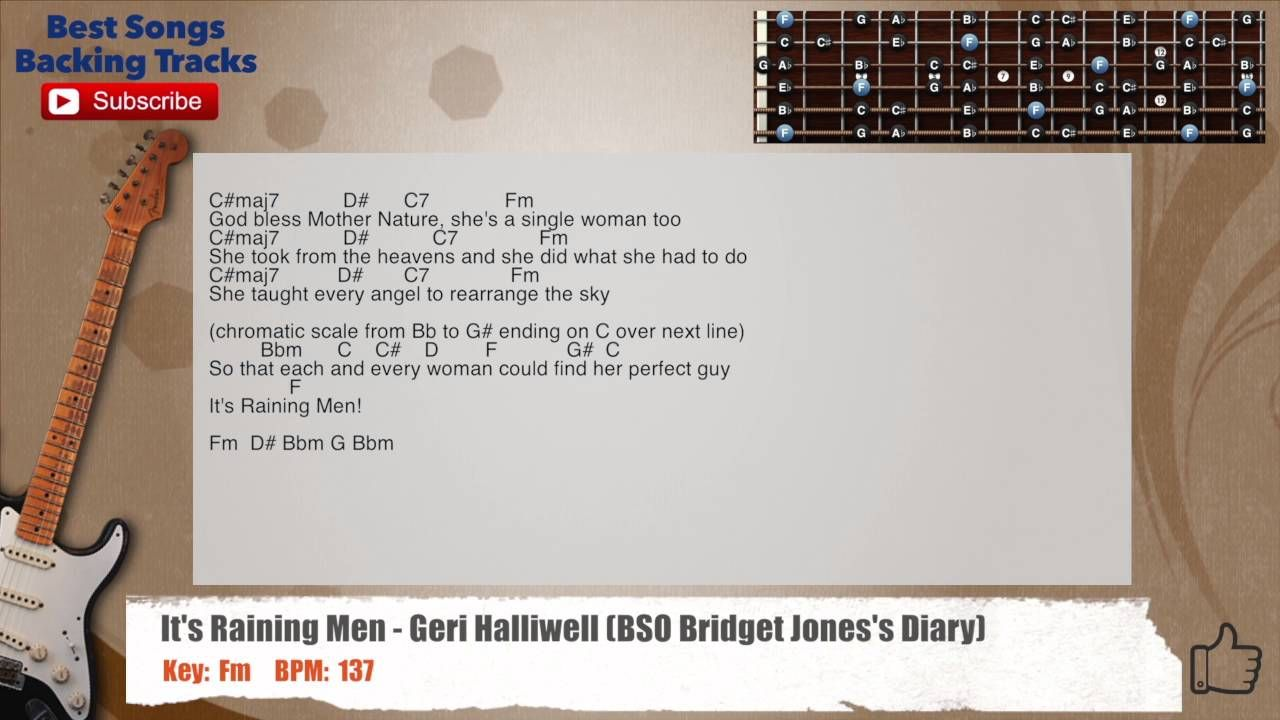 Its Raining Men Geri Halliwell Guitar Backing Track With Scale