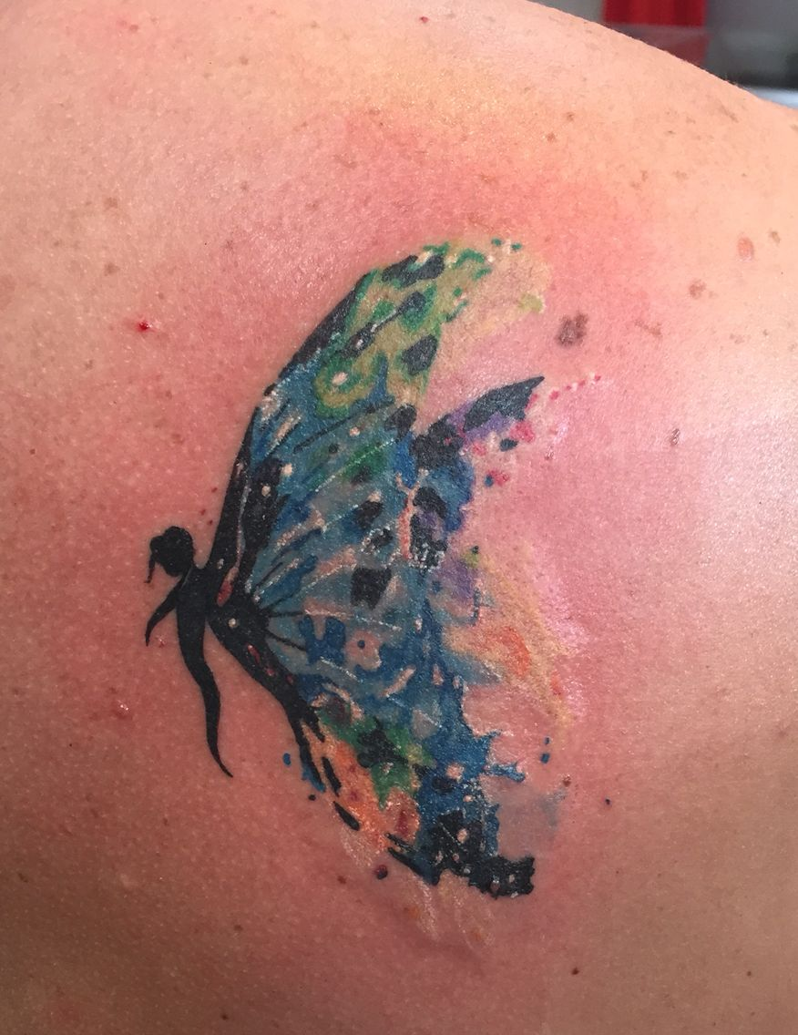 dee0390630196 Watercolor fairy tattoo   fairies   Tattoos, Cover tattoo, Butterfly ...