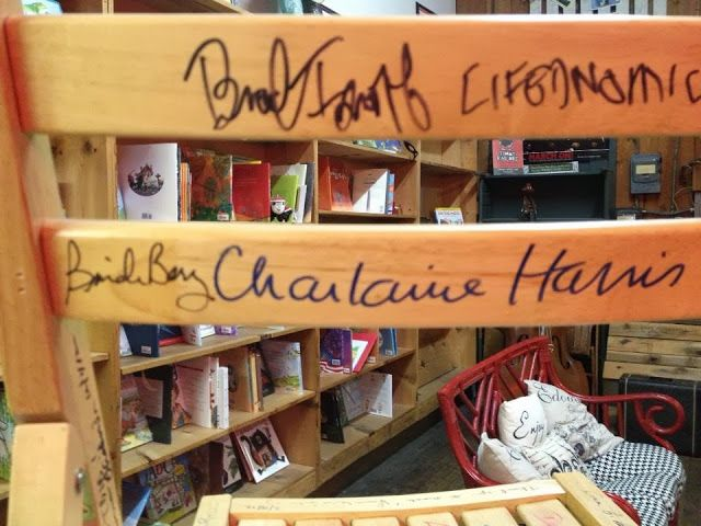 Signed the TBIB chair beside Charlaine Harris. I debated between signing beside her autograho or John Grisham's.