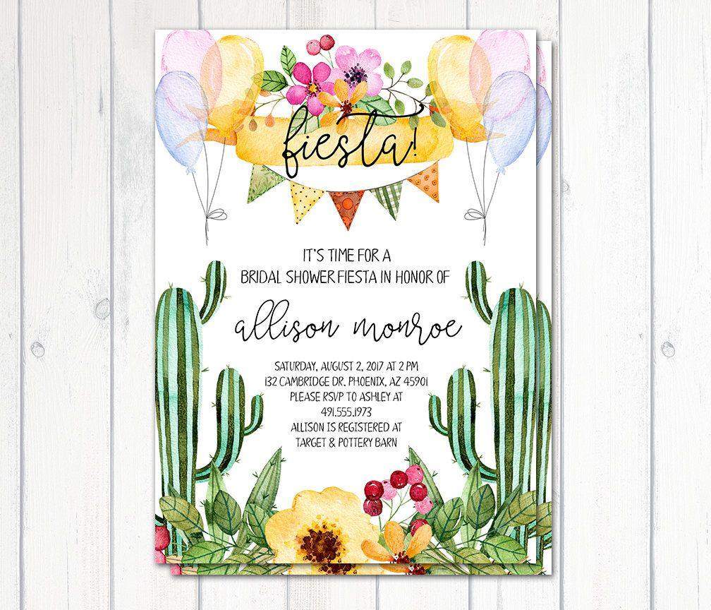 Fiesta Bridal Shower Invitation, Cactus Bridal Shower Invitation ...