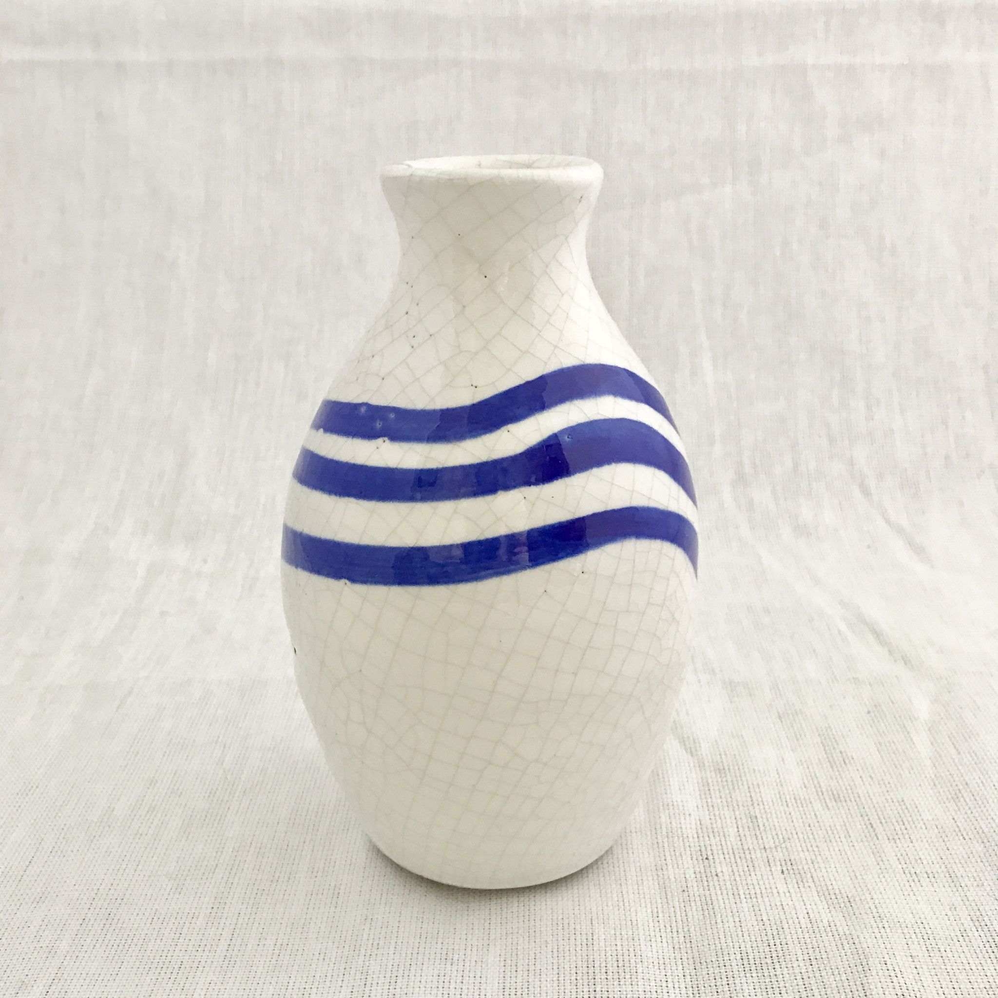 Blue Striped Clay Vases - Set of 4