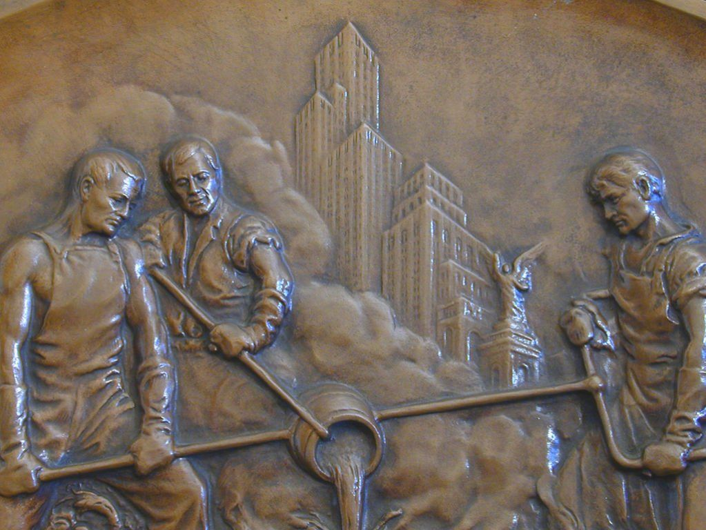 Art Deco Bas Relief Bronze with New York Skyline | From a unique ...