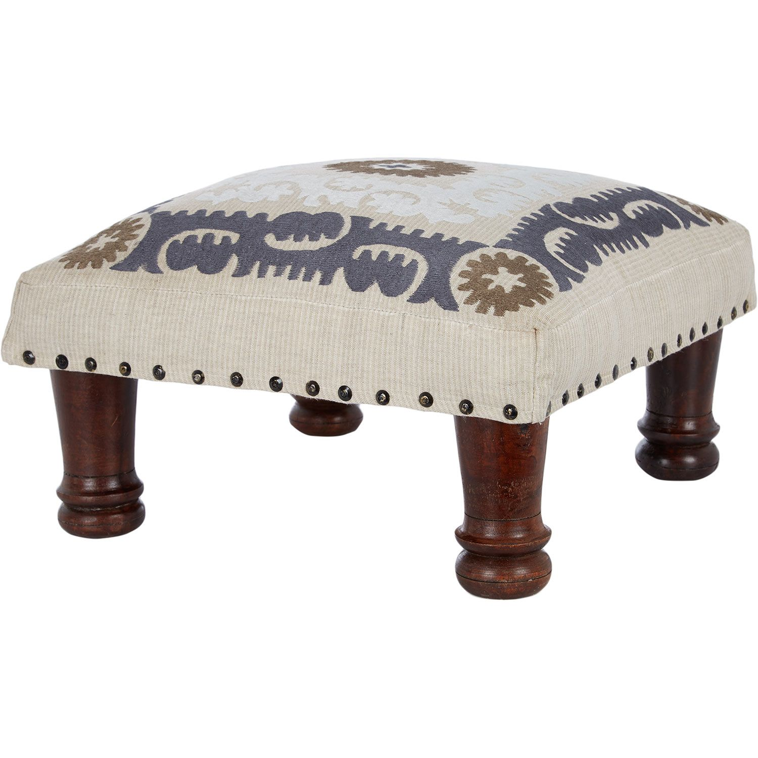 cream embroidered square foot stool tk maxx