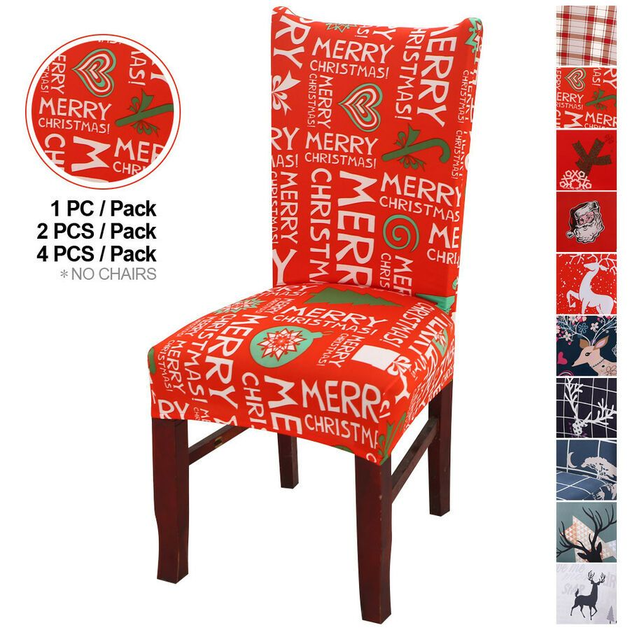 Details About Xmas Elk Dining Room Happy Christmas Elastic Stretch Chair Seat Covers Slipcover Seat Covers For Chairs Chair Back Covers Slipcovers For Chairs