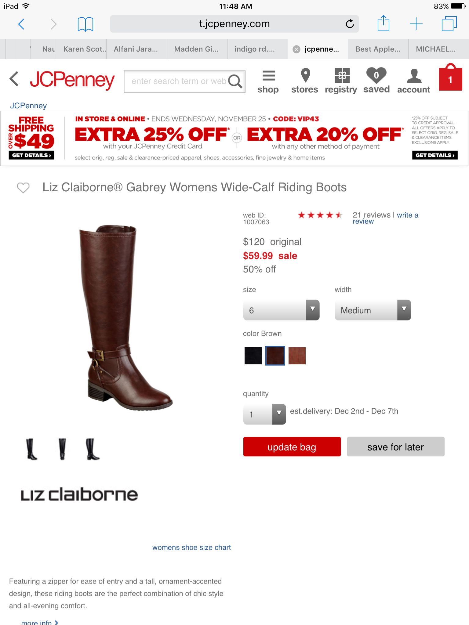 1916c42a88f3 Liz Claiborne Gabrey Women s Wide-Calf Riding Boots from JCPenny ...