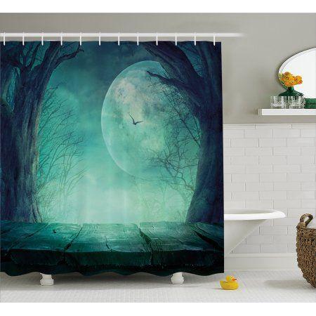 Halloween Decorations Shower Curtain, Spooky Forest Moon and Vain - halloween bathroom sets