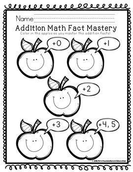 Kindergarten Addition Fact Fluency Student Charts