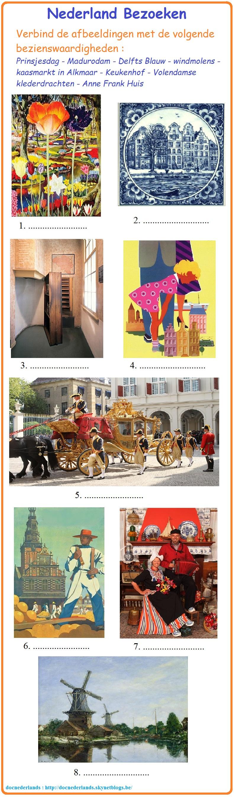 Combineeroefening : afbeeldingen en  bezienswaardigheden / Exercice d'appariement : illustrations et curiosités
