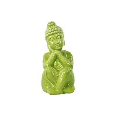 Urban Trends Collection 13 in. H Buddha Decorative Figurine in Green Gloss Finish #buddhadecor