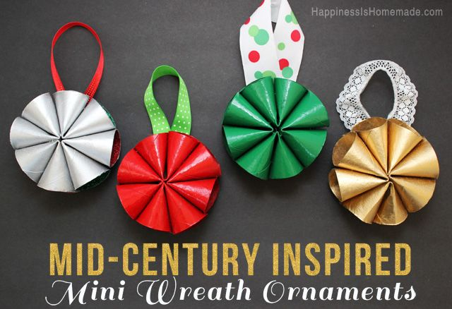 Mid Century Inspired Mini Wreath Christmas Ornaments