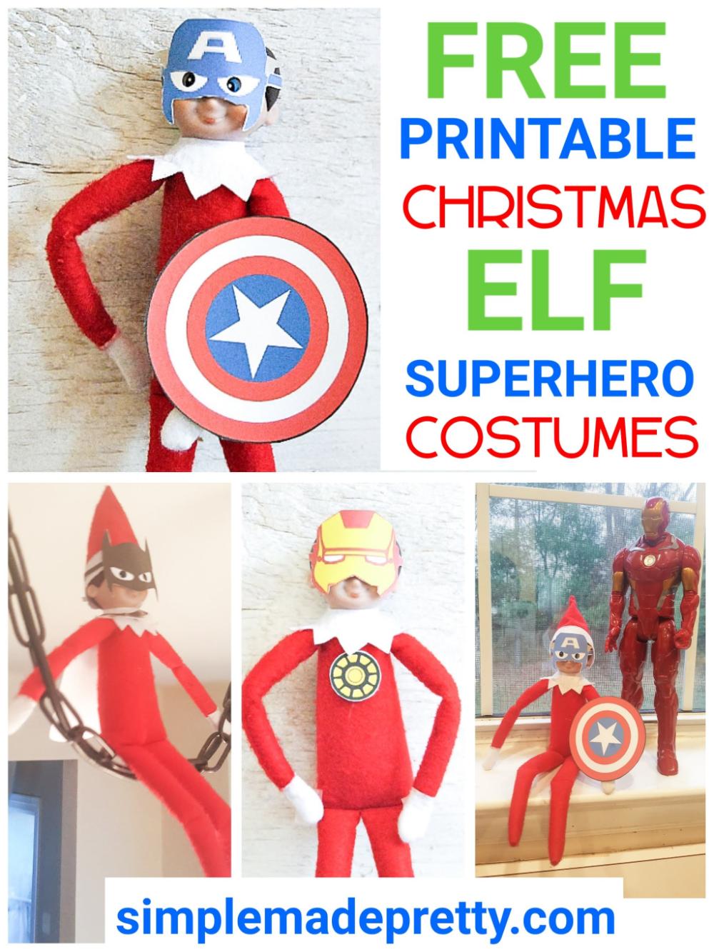 Free Printable Elf Superhero Costumes #elfontheshelfideasfunny