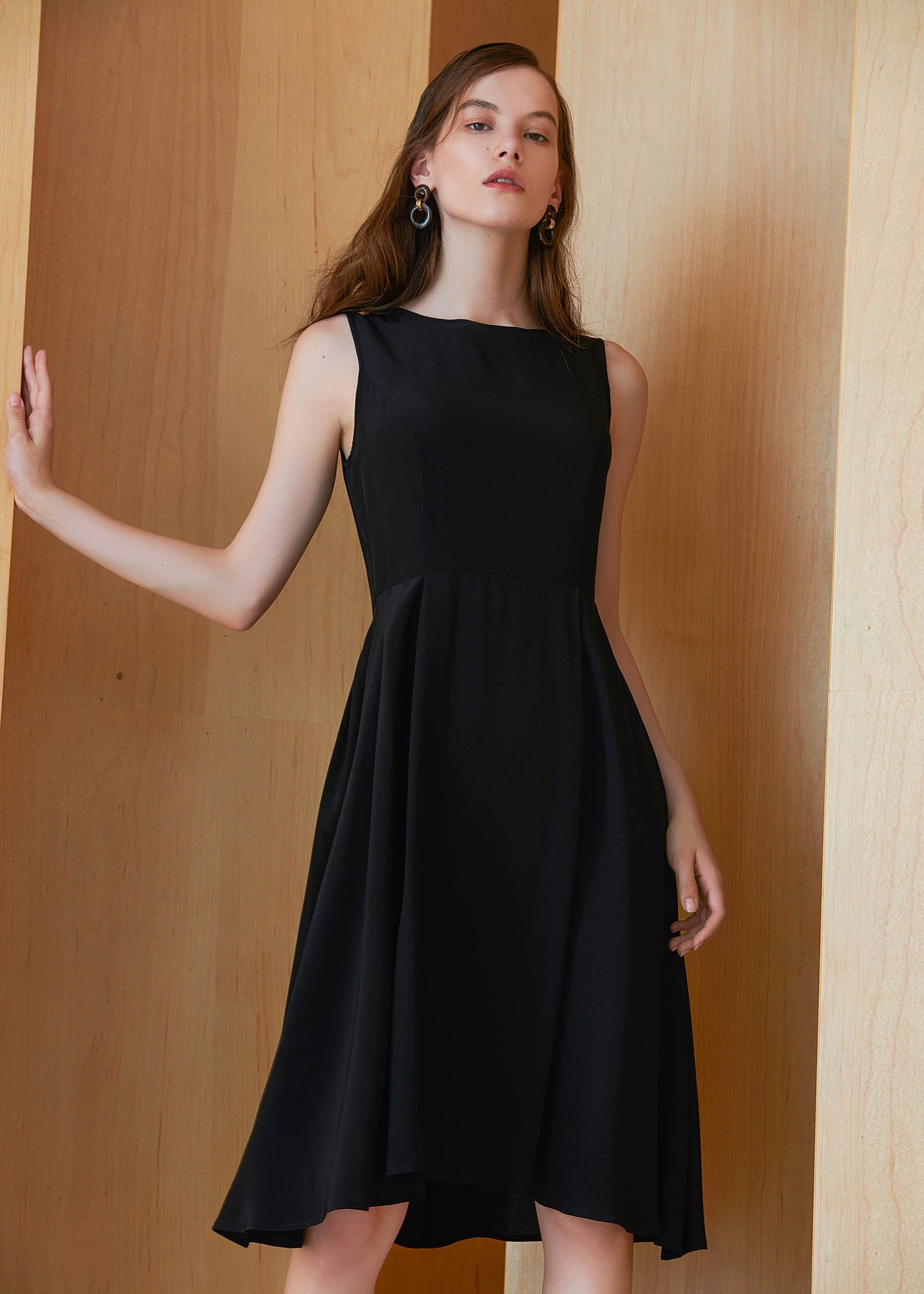 Vintage Round Neck Silk Little Black Dress