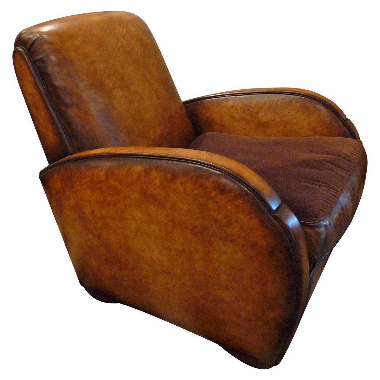 Art deco vintage leather sofa armchair - Leather Lounge Paris Club Chair From A Unique Collection Of Antique