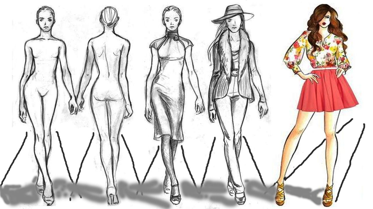Fashion Figure Sketch Drawing Cartoon Figure Drawing Model Fashion Model Sketch Figure Drawing Models Fashion Illustration Sketches