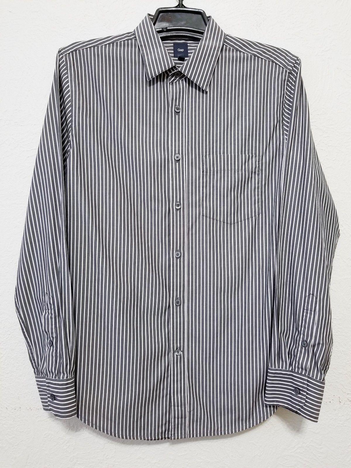 Gap Mens Gray White Striped Dress Shirt Size M Mens Shirt Dress Grey Striped Shirt Shirt Dress [ 1600 x 1200 Pixel ]