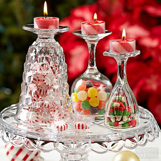 Super easy diy christmas centerpieces christmas for Candy cane holder candle centerpiece