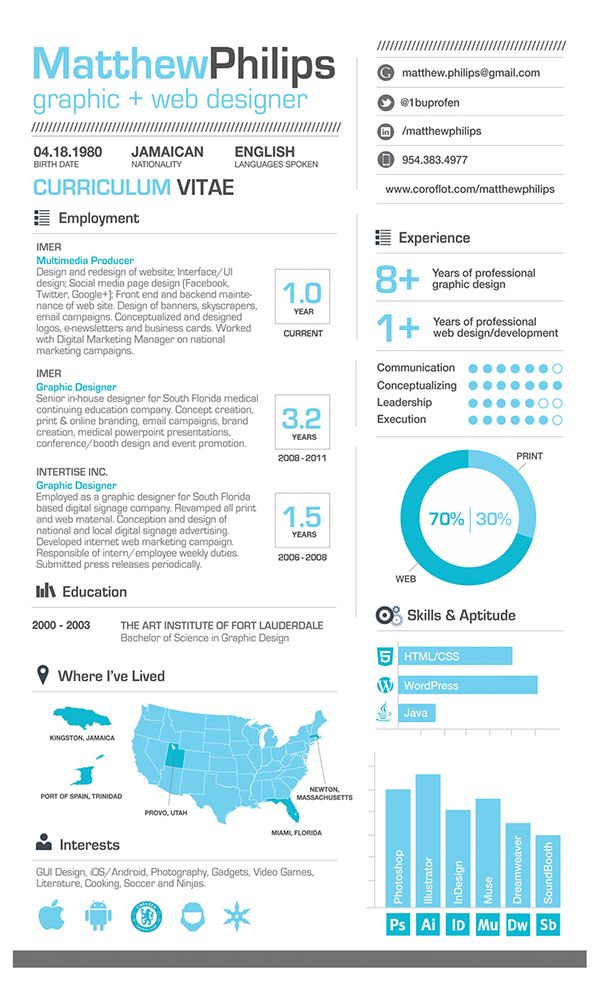 this is a great infographic resume it is very clean simple and