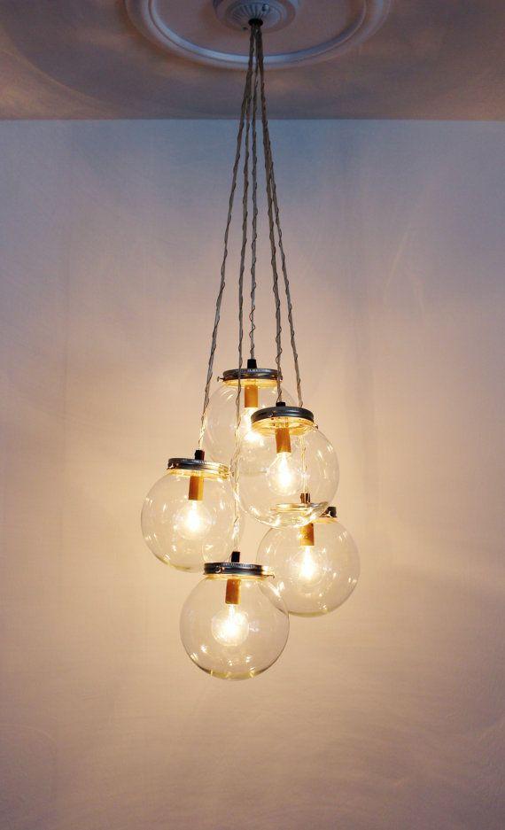 Globe Chandelier Lighting Fixture 5 Hanging Clear Glass Etsy In 2020 Handmade Lighting Fixtures Hanging Light Fixtures Cluster Pendant Lighting