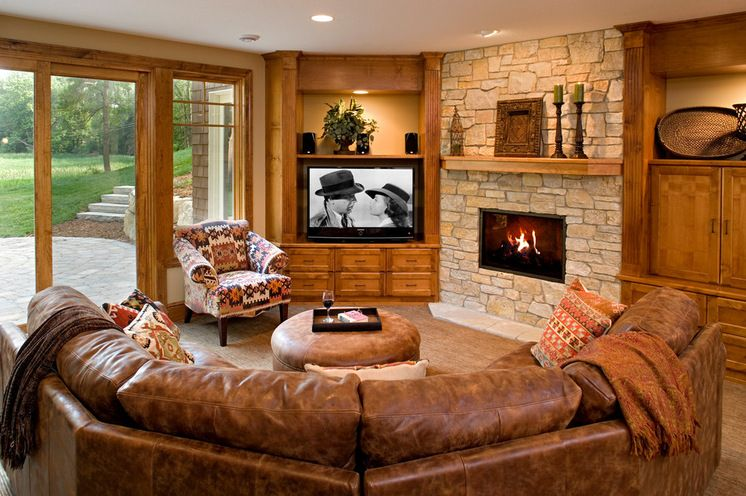 Magnificent Window Tv Fireplace Curved Couch Traditional Basement Creativecarmelina Interior Chair Design Creativecarmelinacom