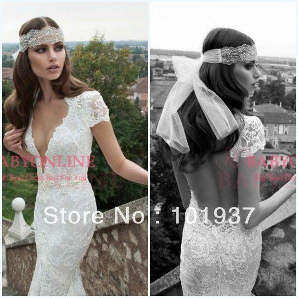 2014 New Design Sexy Deep V Neck Open Back Berta Sheath White Short Sleeve Lace Backless Wedding DressesBeach