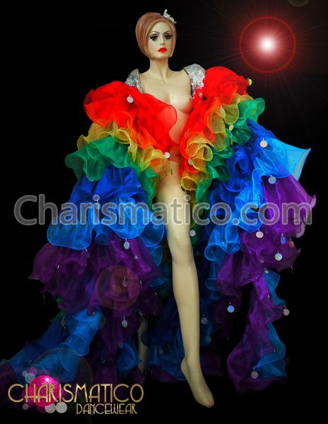 CHARISMATICO Pale Blue Accented Royal Blue Organza Drag Queen Ruffle Coat