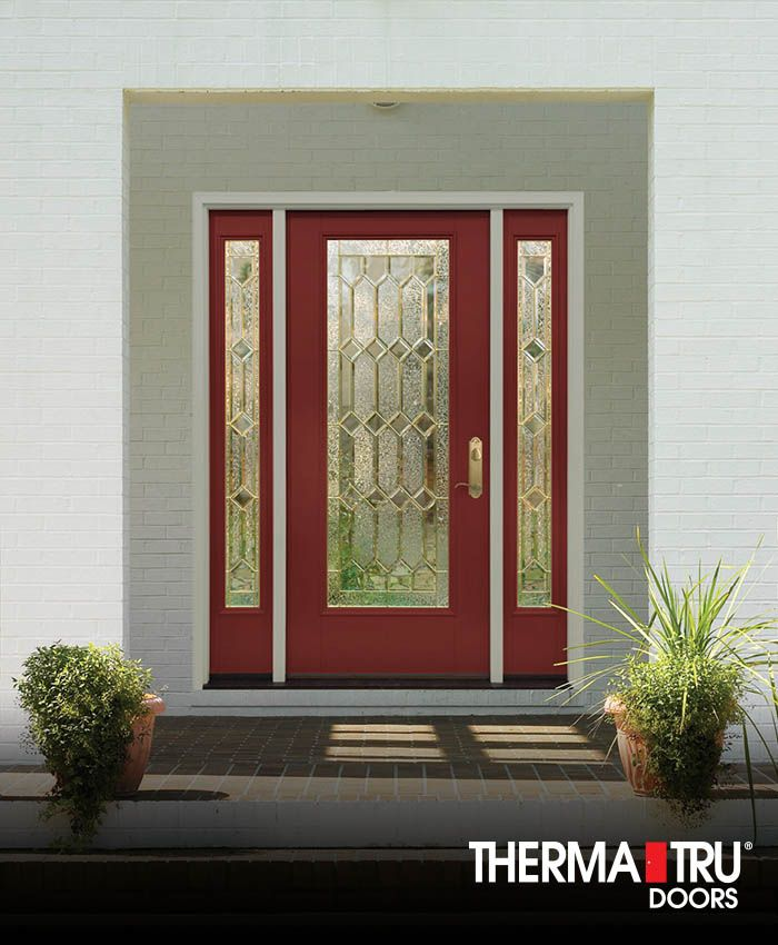 Therma Tru Smooth Star Fiberglass Door Painted Rave Red With Crystalline  Decorative Glass.