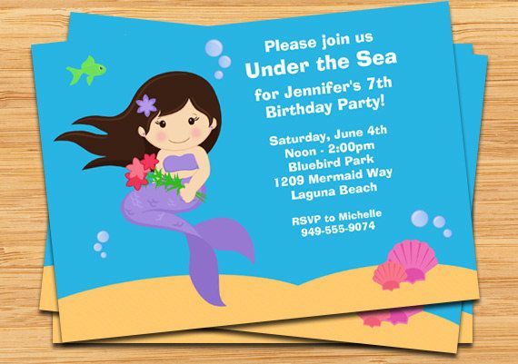 Mermaid Birthday Party Invitation Under the Sea Mermaid birthday