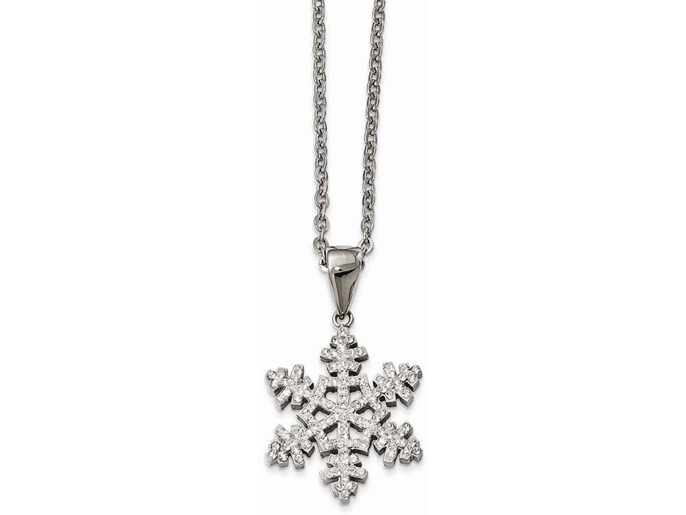 Chisel Stainless Steel Polished Crystal Necklace