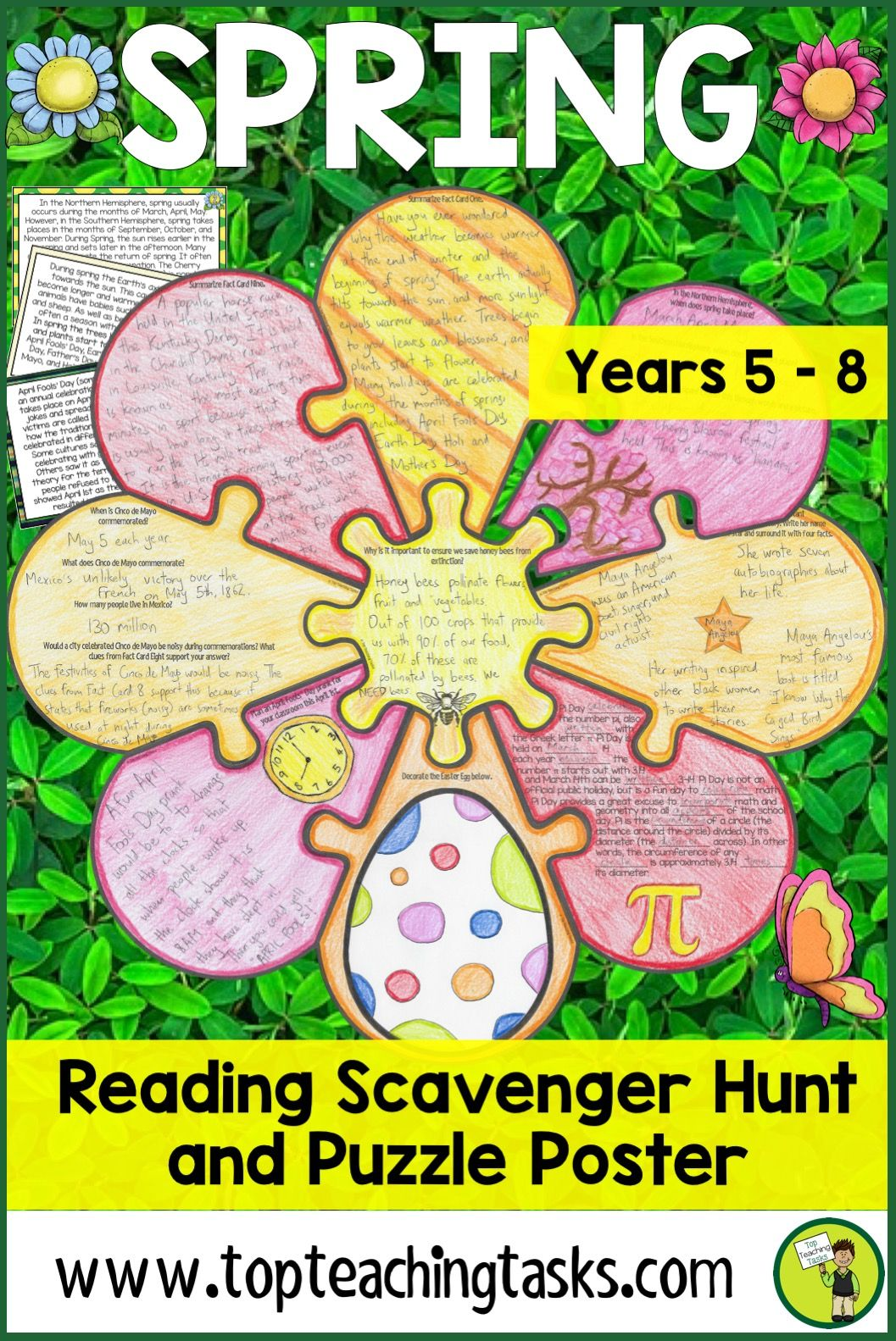 Spring Reading Comprehension Scavenger Hunt Puzzle And
