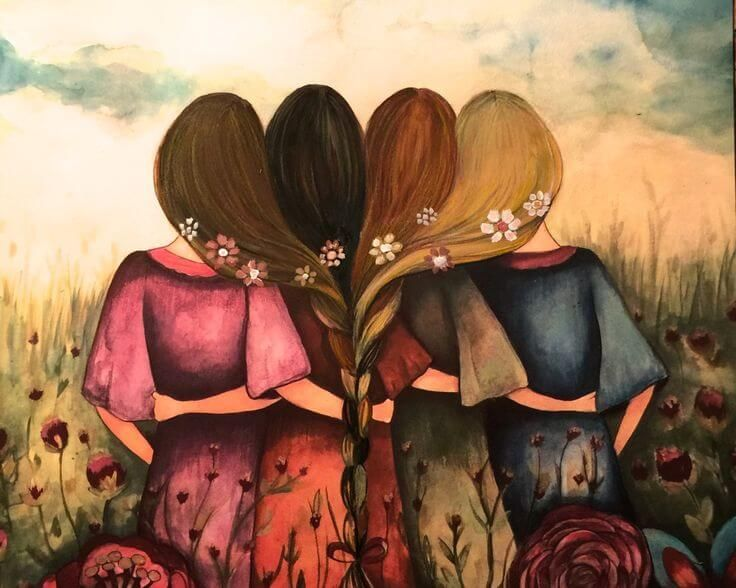 Cuatro amigas abrazandose  mente maravillosa  Pinterest  Gente