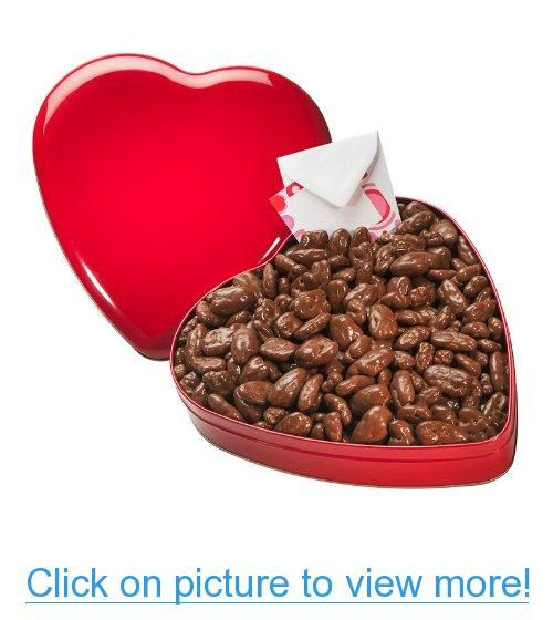 Handcrafted Chocolate Covered Mixed Nuts in a Chic Heart Tin (Almonds, Pecans, Hazelnuts and Brazil Nuts) - a Perfect Valentine's Day Gift