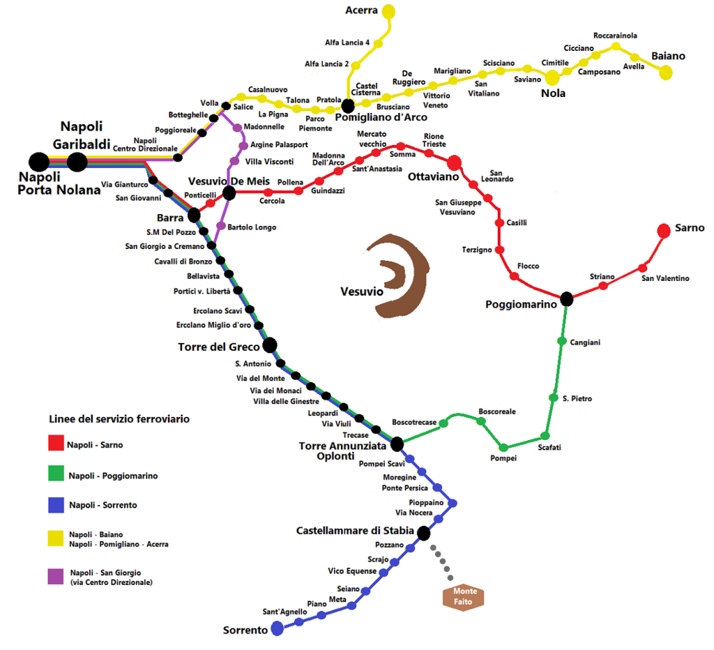 Circumvesuviana maps - Circumvesuviana - Wikipedia | Train travel ...