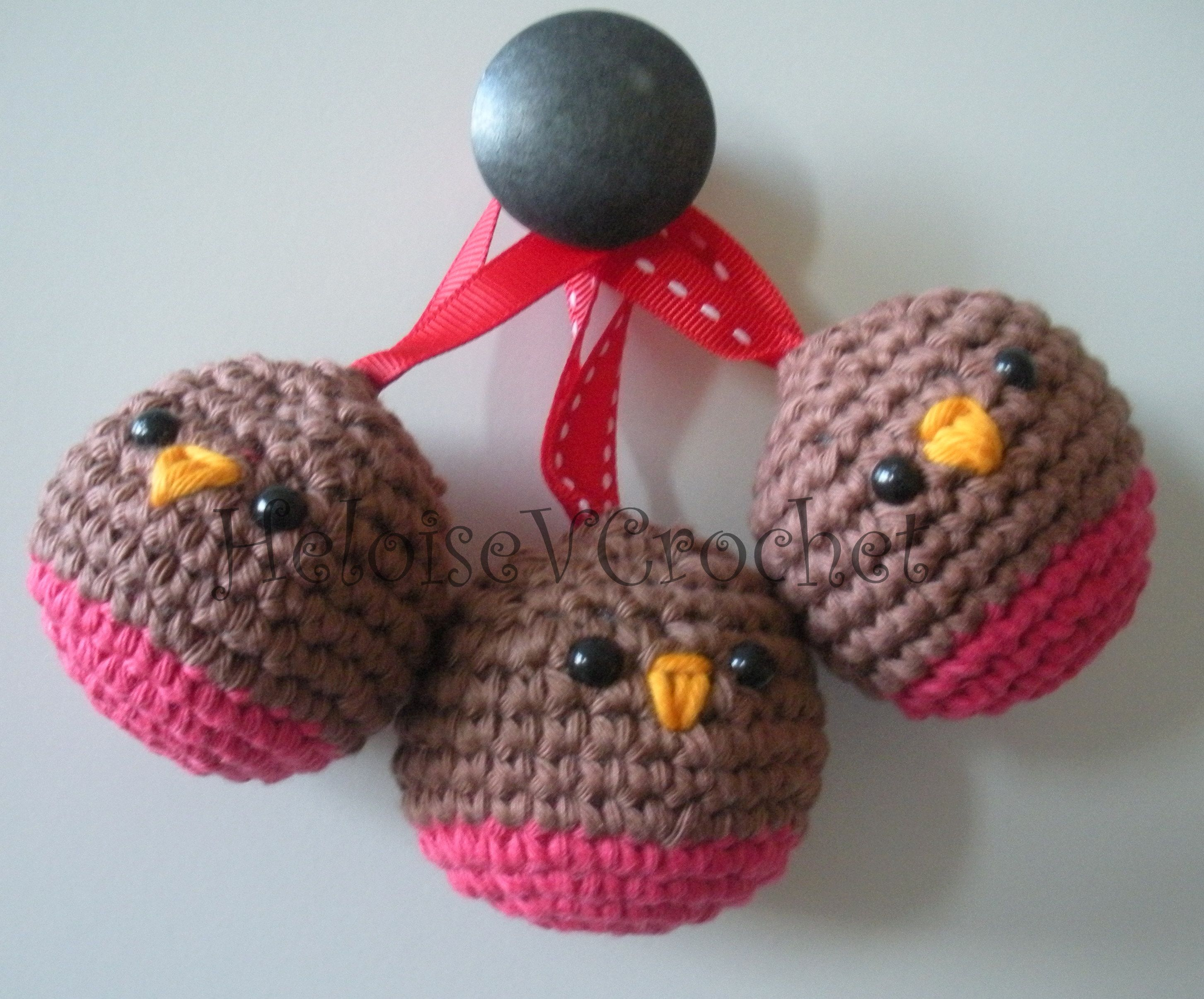Set of 3 Hanging Crochet Christmas Robins - The Supermums Craft Fair