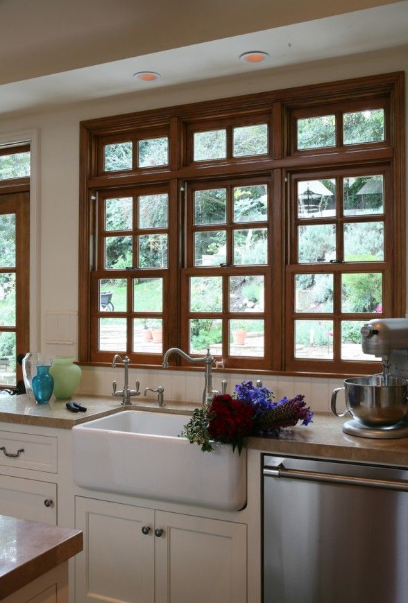 Wood Window With White Cabinets I Would Only Like The Bottom Two Windows Without Decorative Trim